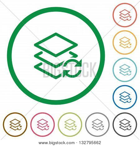 Set of swap layers color round outlined flat icons on white background