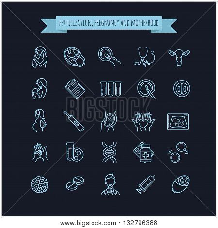 Vector icon set of fertilization, pregnancy and motherhood. Gynecology, childbirth healthcare thin line symbols on a black background for web design, layout, etc.