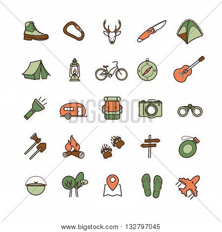 vector camping icons set for your design