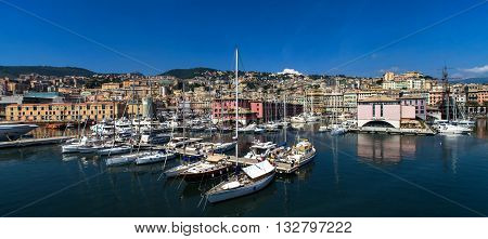 GENOA, ITALY - JUNE 2, 2015: Boats at Marina Molo Vecchio in Genoa Italy. Marina was founded in 1997 in the Old Port area.