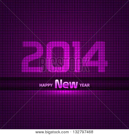 New Year 2014 background, glowing, neon EPS 10.