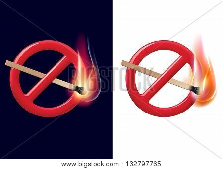 No open fire sign. Realistic 3D illustration