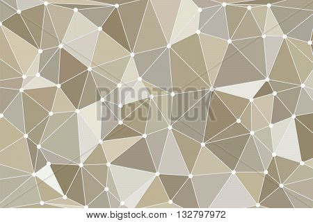 Background polygon with points. Brown color. Abstract geometric background with polygons. Molecule and communication background. Background triangulation dots
