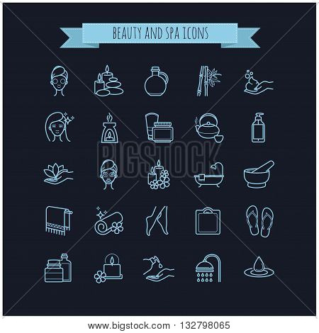 Spa and Beauty vector  thin line icons set on a black background for web, polygraphy, etc.