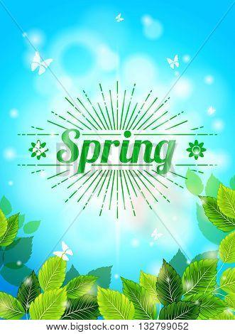 Realistic Spring background, blue sky, green leaves. Sunburst text, glare, glow. Template for web design. Vector illustration