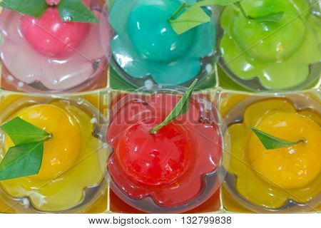 Deletable Imitation Fruits in luxury gold box Kanom look choup sweet thai style is bean sugar and jelly with handmade shape other fruit.