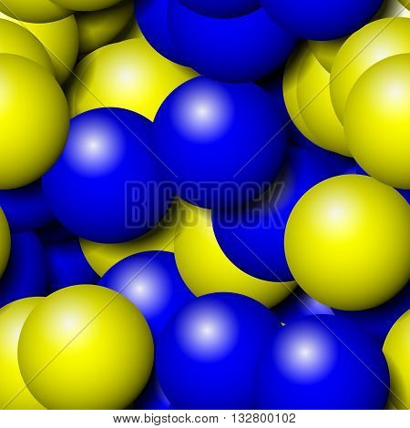 3D rendering. Abstract blue yellow seamless pattern of small balls - digitally rendered tile. Yellow and blue background shaped balloons.