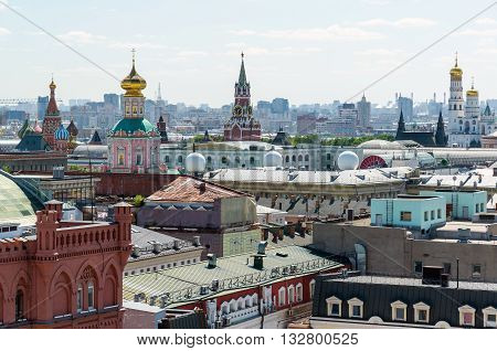 View to Downtown, Spassky tower, the bell tower of Ivan the Great in Moscow. Russia