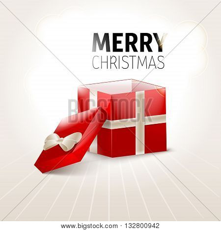 Opened Xmas gift box, Xmas background vector
