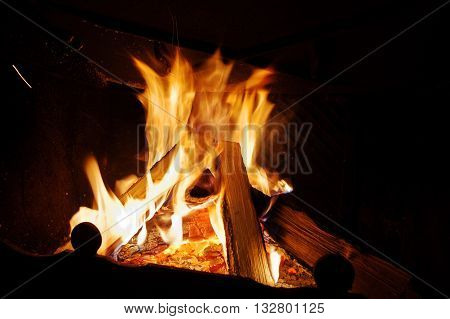 Background Warm Fire In The Fireplace Home