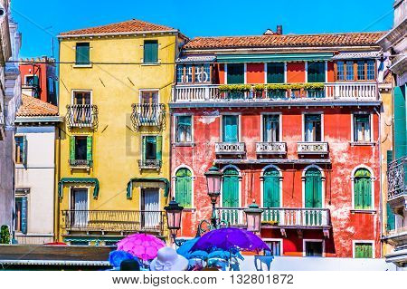 Colorful mediterranean square in old city center in Venice, Italy.