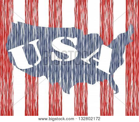 USA. Patriotic design map and the flag of America