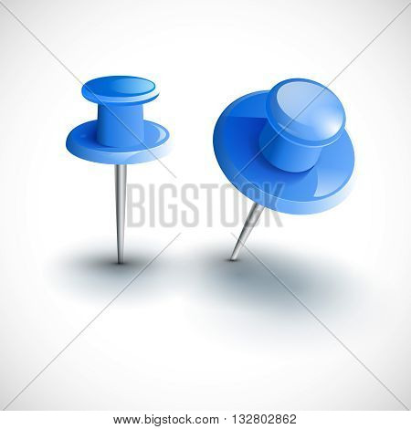 Two blue pushpins isolated, vector illustration design template