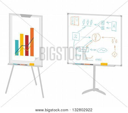 Boards for presentation, flipchart, whiteboard or projection screen. Flat design. Vector illustration isolated on white