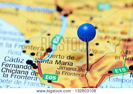 Jimena de la Frontera pinned on a map of Spain