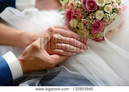 Wedding Couple Is Holding Hands. Beauty Bride With Groom. Beautiful Model Girl In White Dress. Man I