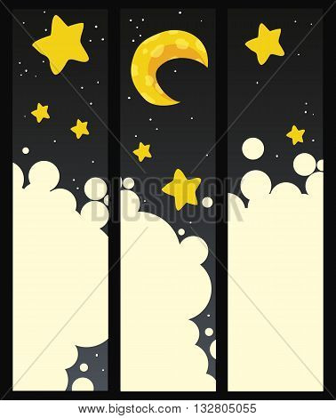 Set of vector banners with a moon and stars
