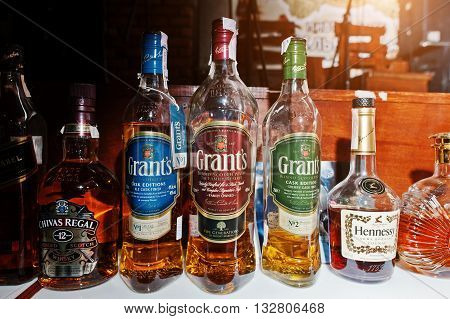 Kyiv, Ukraine - March 25, 2016: Various Alcoholic Beverages Bottles In The Bar. Grants Scotch Whiske