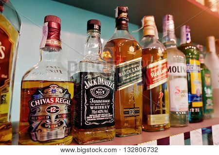 Kyiv, Ukraine - March 25, 2016: Various Alcoholic Beverages Bottles In The Bar. Chivas Regal, Jack D