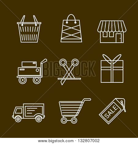 Set of shopping and retail outline vector icons. Shop shopping bag discount label basket gift shipping shopping cart and delivery.