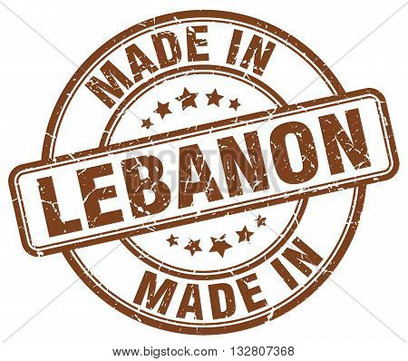 made in Lebanon brown round vintage stamp.Lebanon stamp.Lebanon seal.Lebanon tag.Lebanon.Lebanon sign.Lebanon.Lebanon label.stamp.made.in.made in.