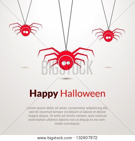 Hapy Halloween background with cute spiders template