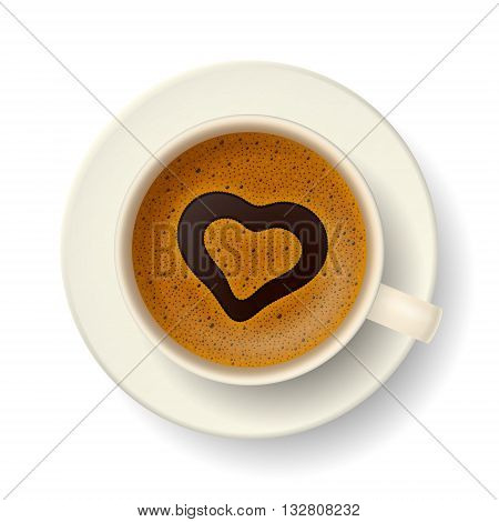 Cup of coffee with symbol of heart on frothy surface. Favorite drink for pleasant resting