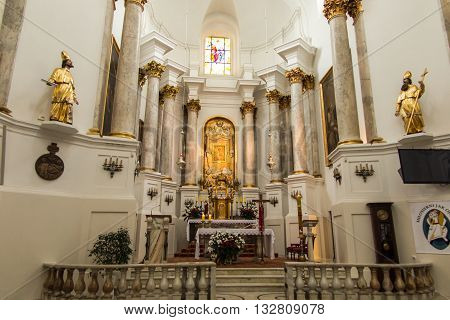 Chelm POLAND - May 7 2016: Inside the shrine the Basilica of Virgin Mary in Chelm in eastern Poland near Lublin
