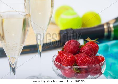 Strawberries and champagne during Wimbledon tennis tournament