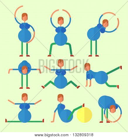 Set of icons on a theme pregnancy. Pregnant woman doing yoga. Pregnant does zaryalku playing sports. Cartoon characters icon stylish background.Cartoon design flat vector illustration