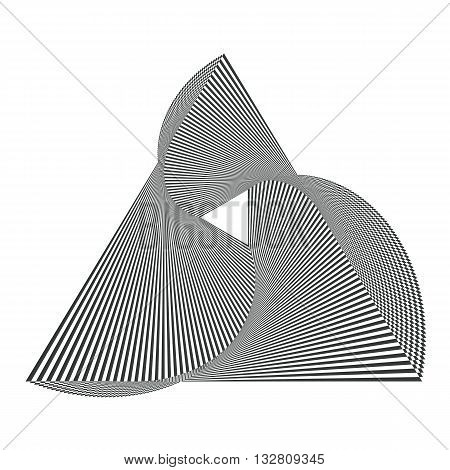 Optical illusion background. Op Art concept. Abstract triangle background. Optical art. Striped triangle. Black and white op art. Deformed triangle vector background. Abstract shape background.
