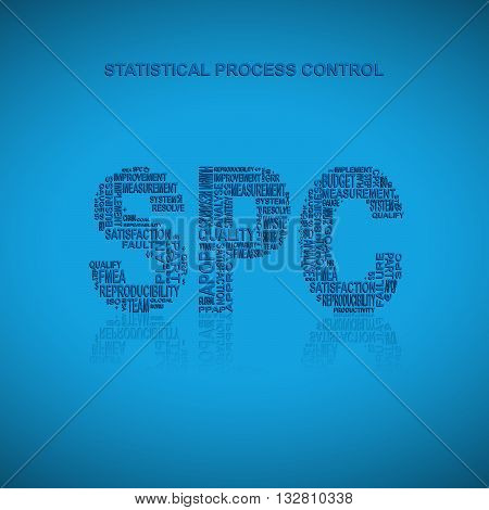 Statistical process control typography background. Blue background with main title SPC filled by other words related with statistical process control method. Vector illustration