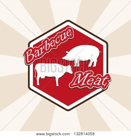 barbecue beef and pork - vector illustration label