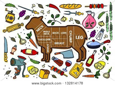 Vector Illustration Of Lamb And Vegetables