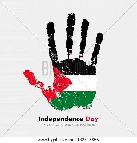 Hand print, which bears the Flag of Palestine. Independence Day. Grunge style. Grungy hand print with the flag. Hand print and five fingers. Used as an icon, card, greeting, printed materials.