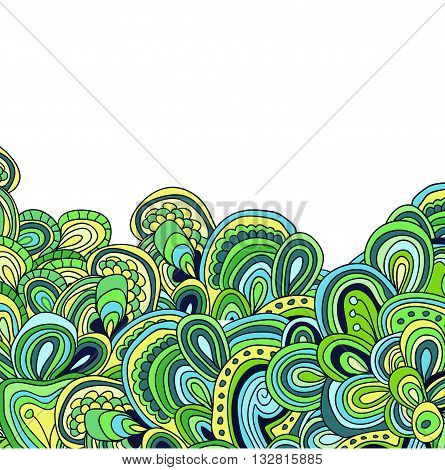 doodle pattern, vector illustration. Card with bight green tracery.