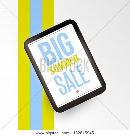 Realistic mobile devises with Big sale inscription. Design concept.