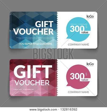 Gift voucher template with colorful and modern hexagonal design. Certificate coupon design template.