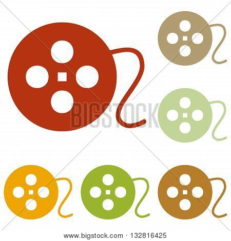 Film circular sign. Colorful autumn set of icons.