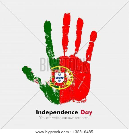 Hand print, which bears the Flag of Portugal. Independence Day. Grunge style. Grungy hand print with the flag. Hand print and five fingers. Used as an icon, card, greeting, printed materials.
