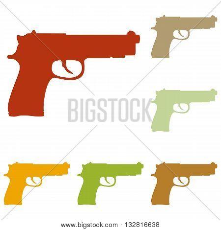 Gun sign illustration. Colorful autumn set of icons.