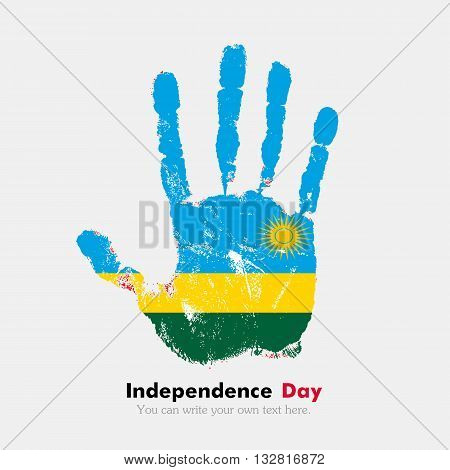 Hand print, which bears the Flag of Rwanda. Independence Day. Grunge style. Grungy hand print with the flag. Hand print and five fingers. Used as an icon, card, greeting, printed materials.