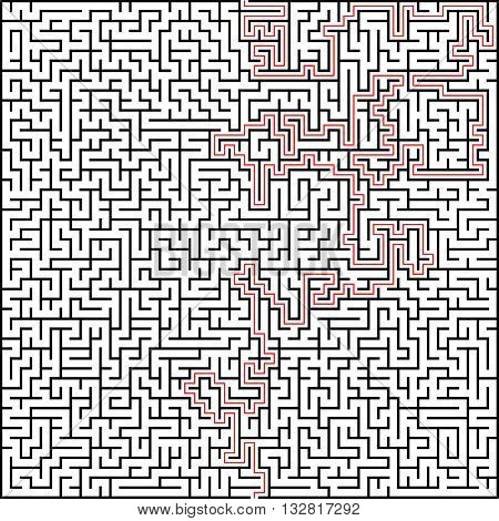 Abstract vector maze of high complexity with solution.