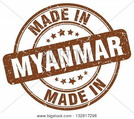 made in Myanmar brown round vintage stamp.Myanmar stamp.Myanmar seal.Myanmar tag.Myanmar.Myanmar sign.Myanmar.Myanmar label.stamp.made.in.made in.