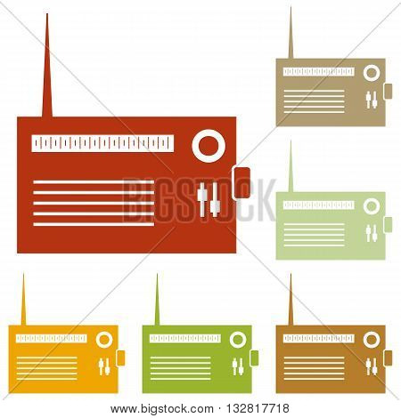 Radio sign illustration. Colorful autumn set of icons.