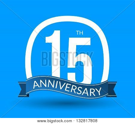 15 Anniversary numbers with ribbon. Flat origami style with long shadow. 15th anniversary Vector illustration.