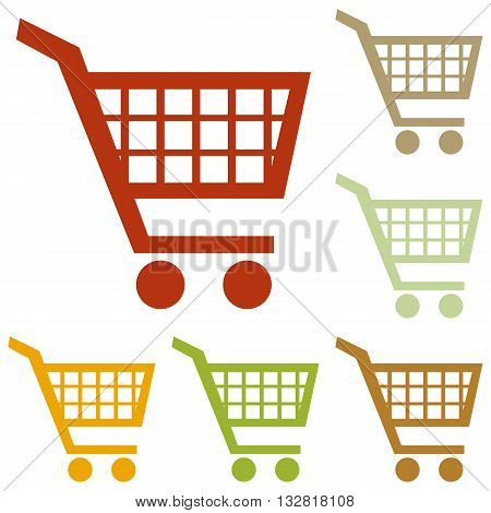 Shopping cart sign. Colorful autumn set of icons.