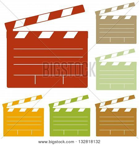 Film clap board cinema sign. Colorful autumn set of icons.