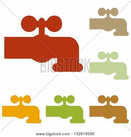 Water faucet sign illustration. Colorful autumn set of icons.