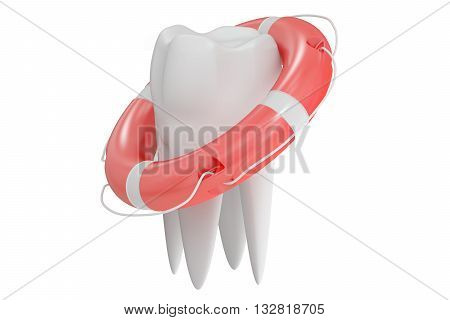 Tooth with lifebuoy 3D rendering isolated on white background